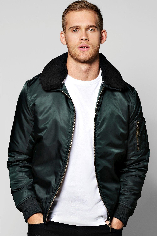 Men's Vintage Style Coats and Jackets Sherpa Collar MA1 Bomber Jacket teal $52.00 AT vintagedancer.com