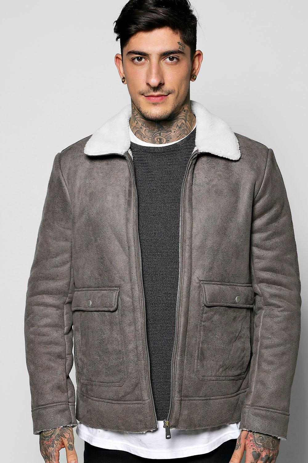 Sherpa Collar Faux Suede Jacket