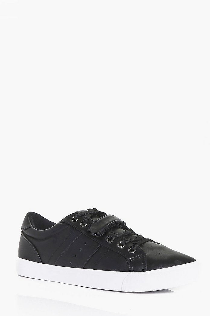 Lace Up Trainers With Velcro Strap