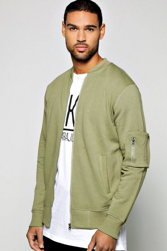 MA1 Jersey Zip Through Bomber