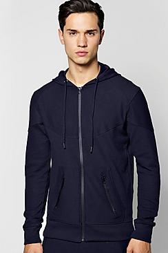 All Over Ribbed Zip Through Hoodie