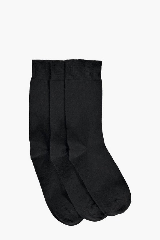 3 Pack Plain Black Cotton Socks