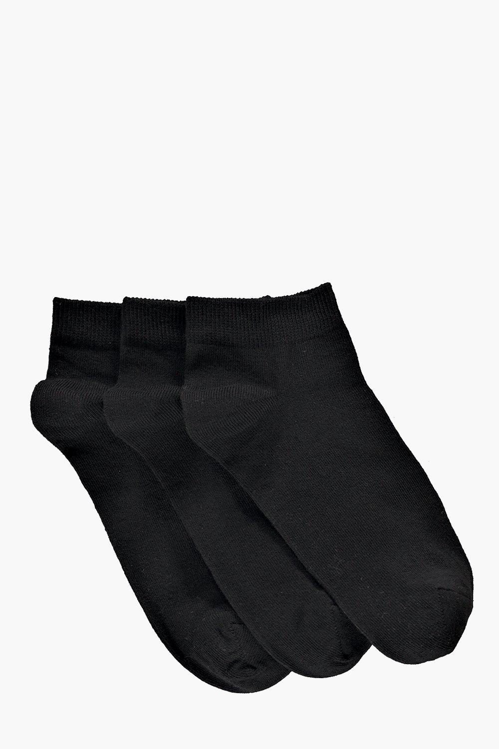 3 Pack Plain Black Trainer Socks