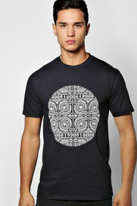Mono Tribal Circle Print T Shirt