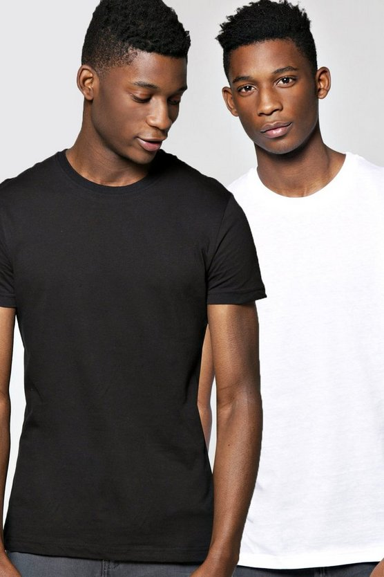 2 Pack Crew Neck T Shirts in Slim Fit