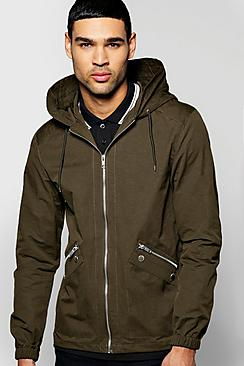 Boohoo Hooded Poly Cotton Jacket