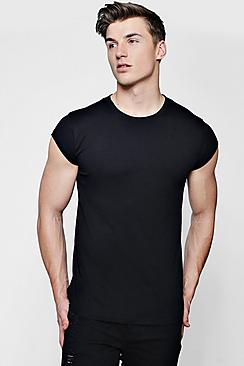 Longline Loose Fit Cap Sleeve T Shirt