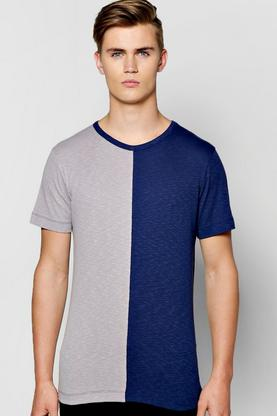 Half Panel TShirt In Slub Knit