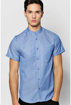 Short Sleeve Grandad Chambray Shirt