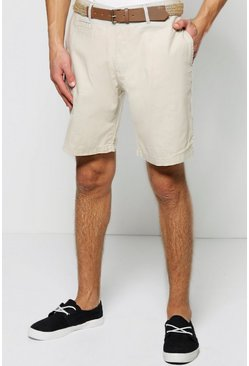 Cotton Linen Shorts With Belt