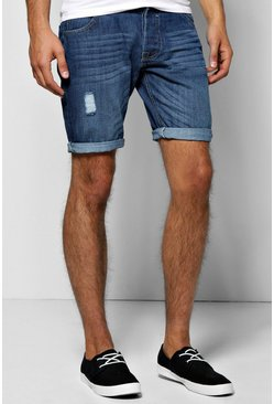 Light Blue Wash Denim Shorts With Sandblast
