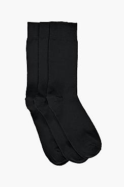 Image of 3 Pack Cotton Rich Black Socks