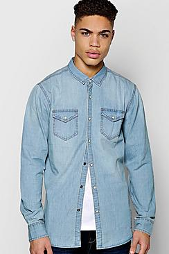 Boohoo Long Sleeve Mid Wash Denim Shirt