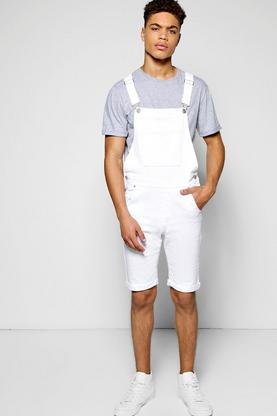 Slim Fit Denim Dungaree Shorts