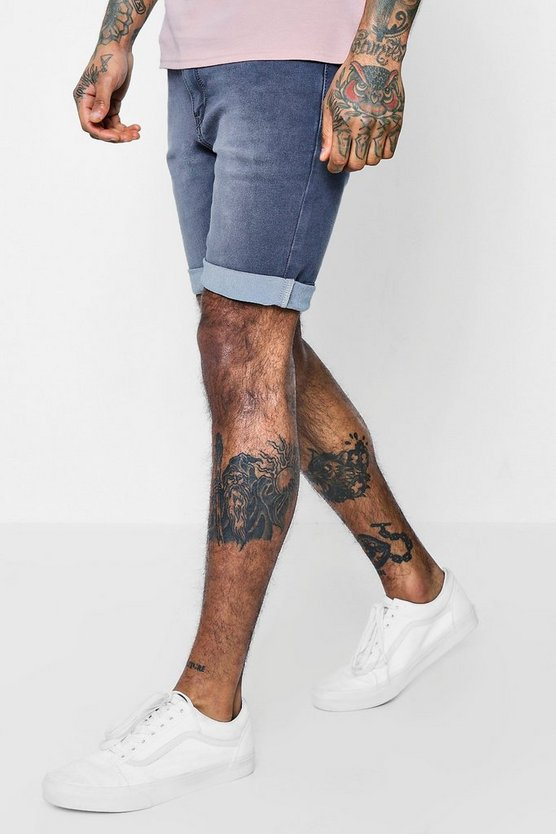Skinny Fit Charcoal Washed Denim Shorts