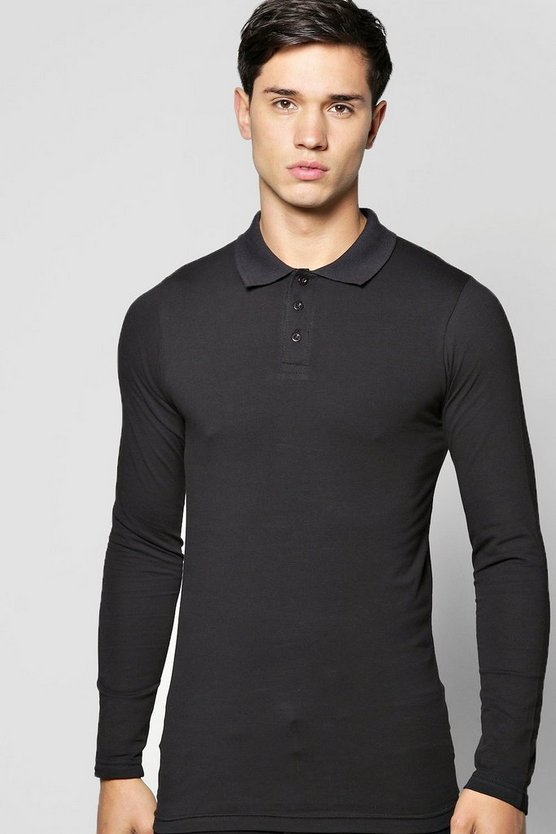 Long Sleeve Muscle Fit Polo
