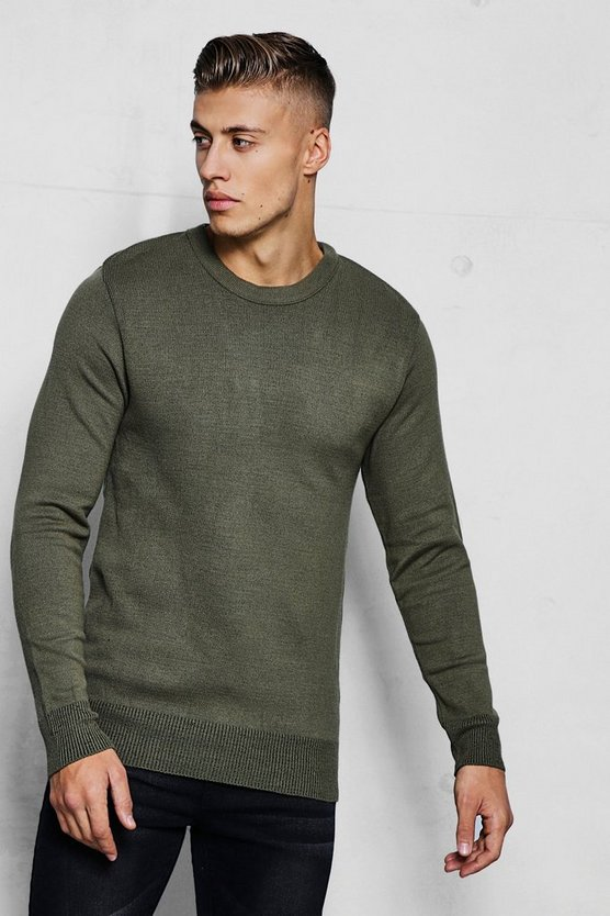 Khaki Crew Neck Fine Gauge Knitted Jumper