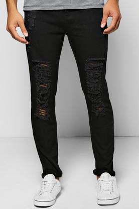 Quincy Skinny Fit Jeans With Extreme Rips