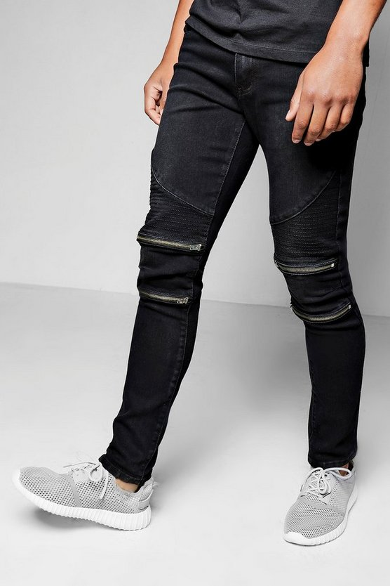 skinny fit zip knee biker jeans boohooman. Black Bedroom Furniture Sets. Home Design Ideas