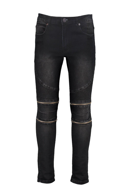 Skinny Fit Zip Knee Biker Jeans at boohoo.com
