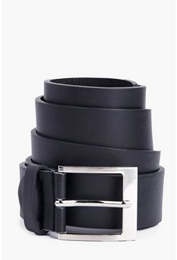 Black Leather Look Belt With Squared Buckle
