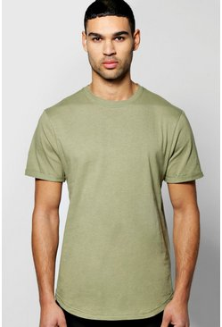 Curved TShirt With Rolled Sleeve