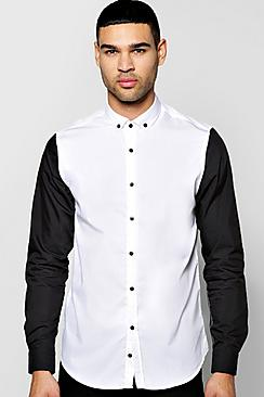 Slim Fit Poplin Shirt With Contrast Sleeves
