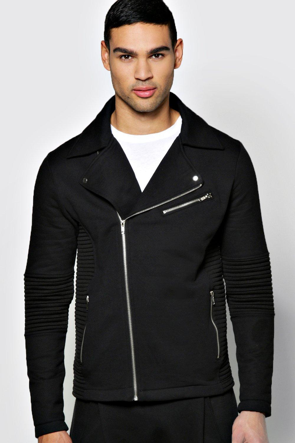 Jersey Ribbed Biker Jacket
