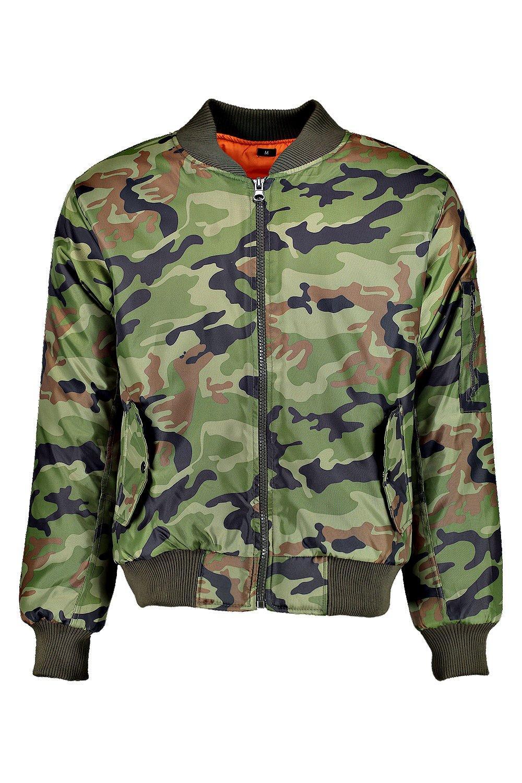 Boohoo Mens Camo Ma1 Bomber Jacket Ebay