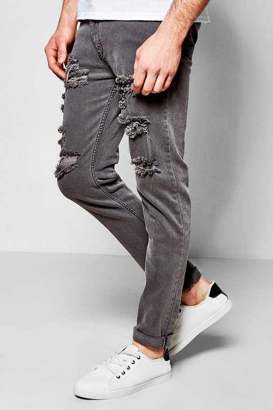 Skinny Fit Light Grey Multi Ripped Jean
