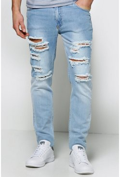 Skinny Fit Bleached Wash Multi Ripped Jean