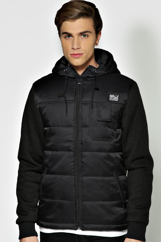 boohoo Padden Nylon Jacket With Jersey Sleeve - black