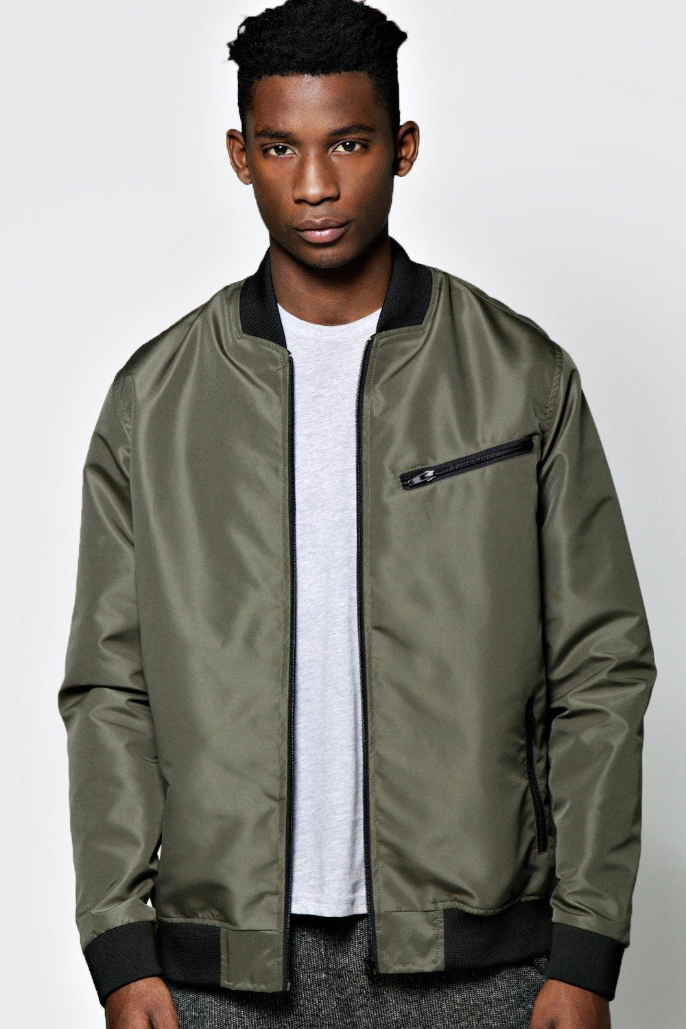 boohoo Nylon Bomber Jacket With Zip Pocket - khaki