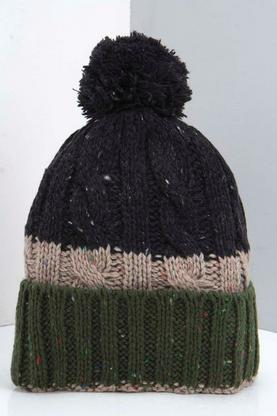 Colour Block Bobble Beanie with Turn Up