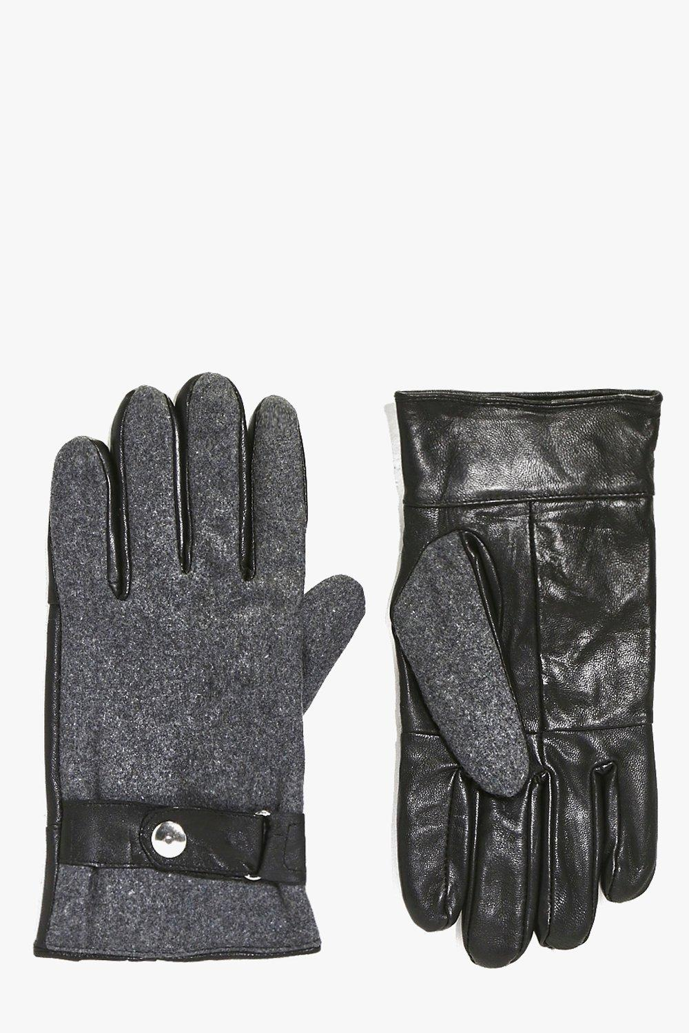 Leather Gloves with Melton Panelling