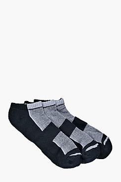 Image of 3 Pack Contrast Panel Trainer Socks