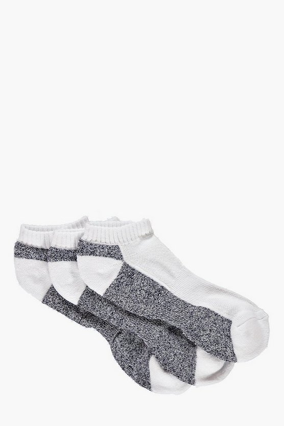 3 Pack Contrast Panel Trainer Socks
