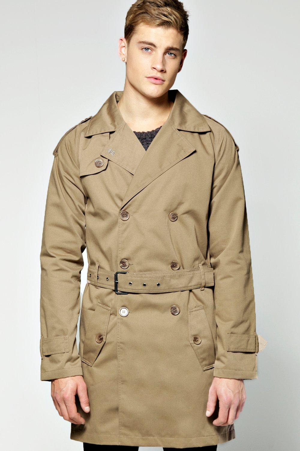 Image of boohoo 3/4 Double Breasted Belted Rain Mac - stone