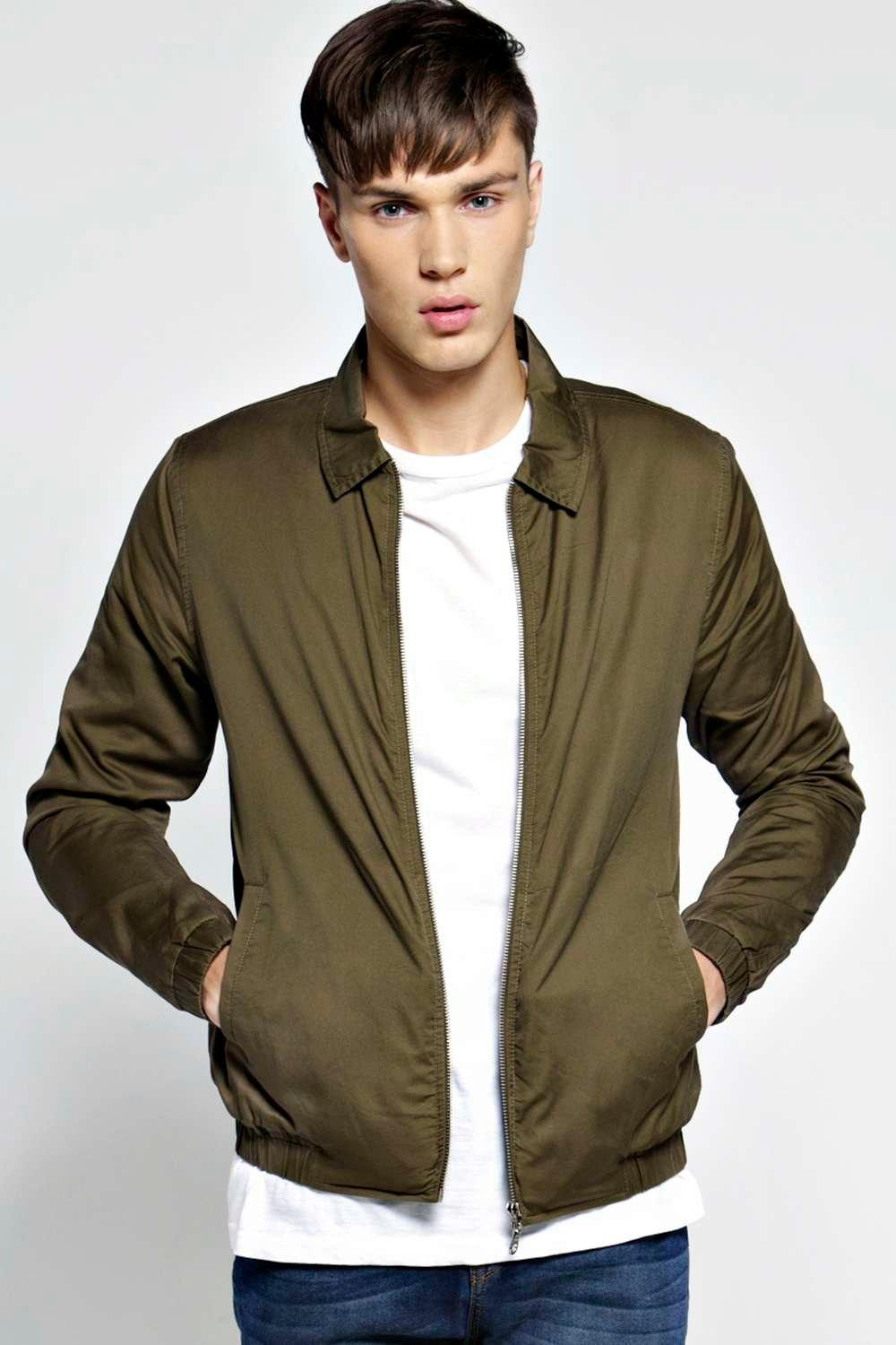 boohoo Peach Twill Harrington Jacket - khaki