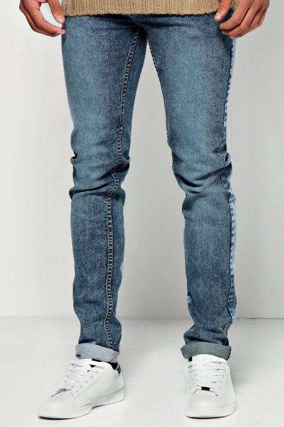 Skinny Fit Mid Blue Acid Wash Jeans