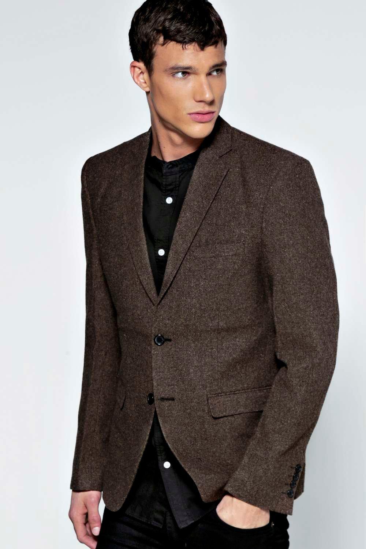 boohoo Smart Tweed Blazer - brown