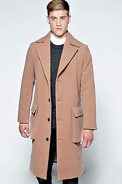 Long Woolen Coat with Gusset Pockets