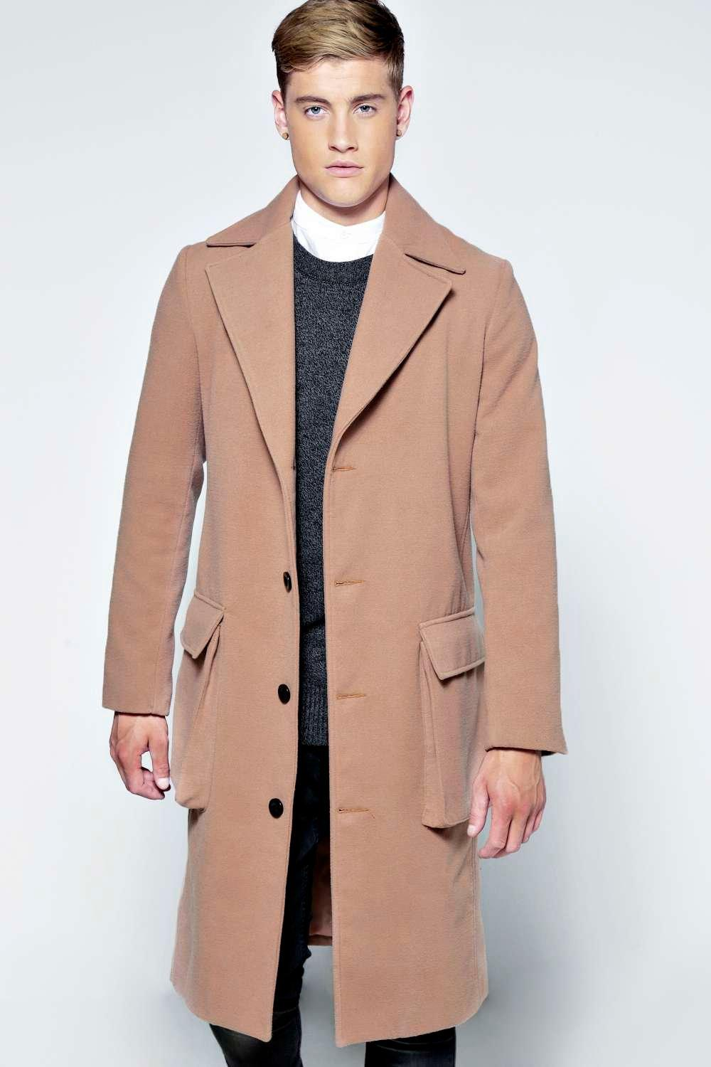 Long Woollen Coat with Bellow Pockets