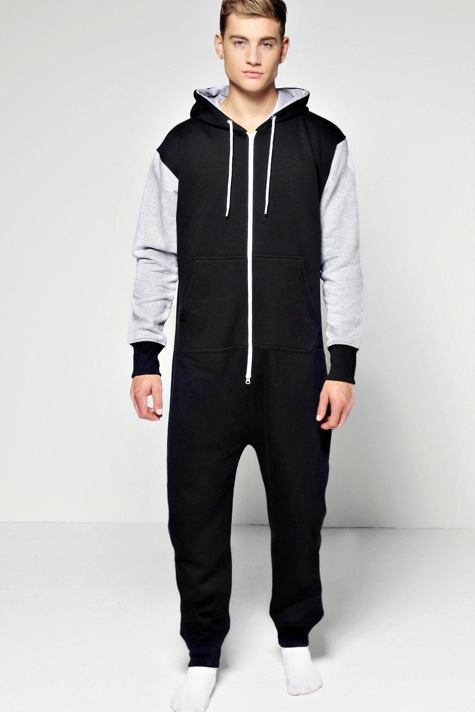 Boohoo mens contrast hooded onesie ebay for Mens dress shirt onesie