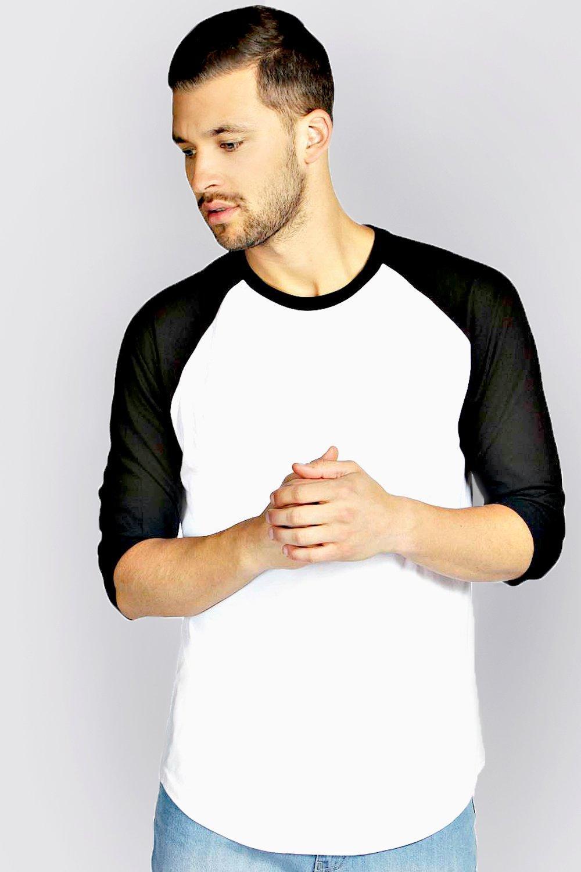 Image of boohoo 3/4 Raglan Sleeve T Shirt - black