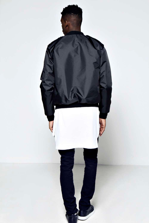 Boohoo Mens Slim Fit Borg Front Bomber Jacket