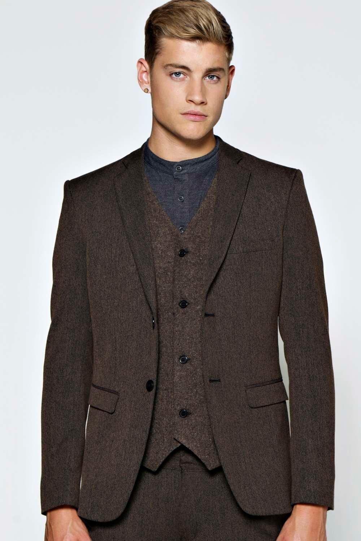 boohoo Smart Skinny Tweed Blazer - brown