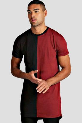 Colour Block Longline Scoop Hem T Shirt
