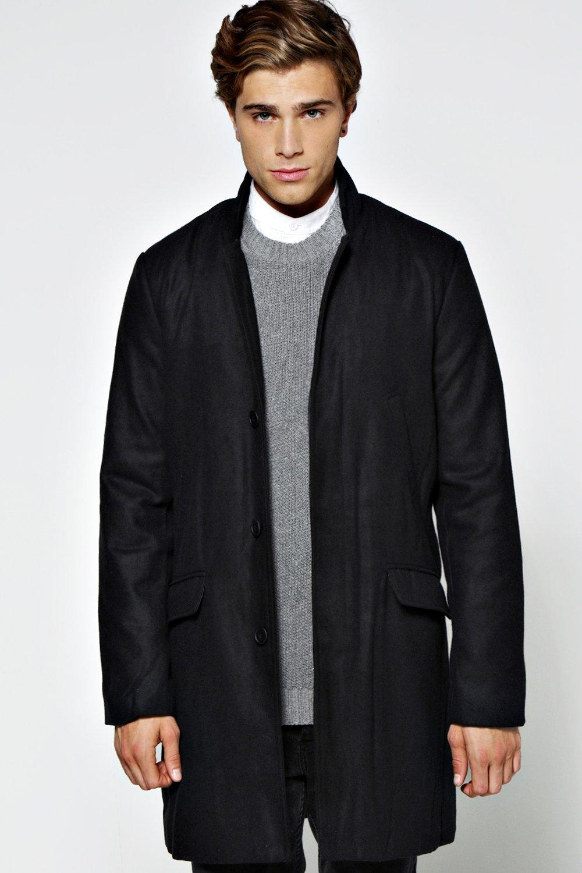 Image of boohoo 3/4 Four Pocket Slim Fit Wool Coat - black