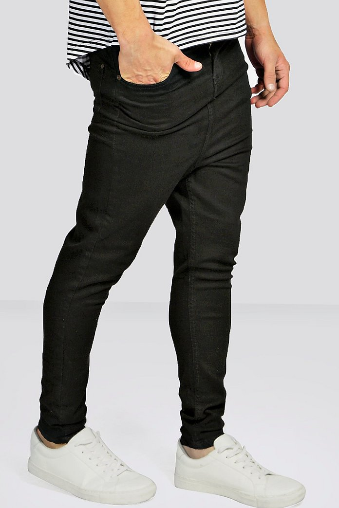 Drop Crotch Skinny Black Jeans